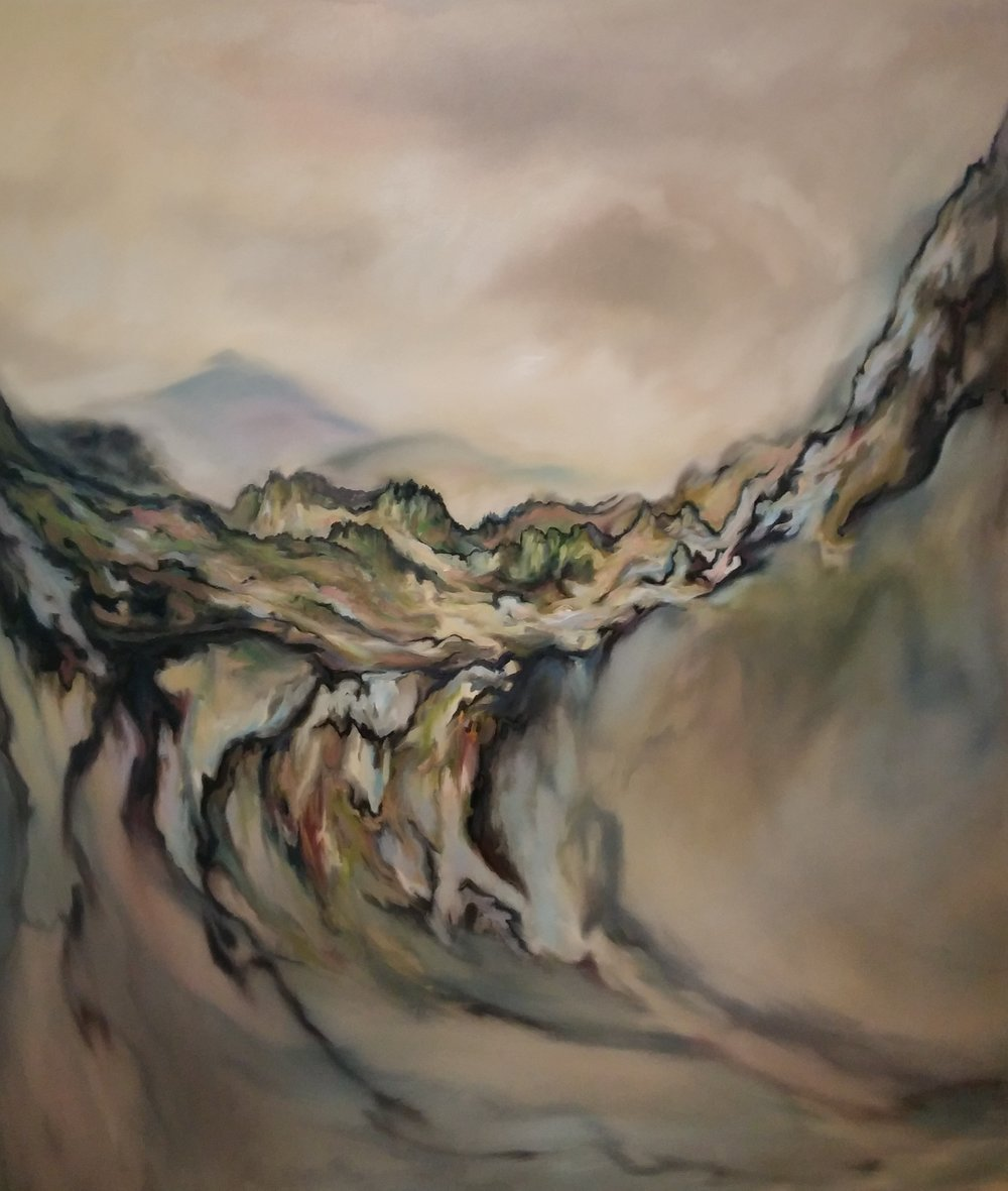 Cliff Edge,  oil on canvas, 58 x 68 inches, 2016.