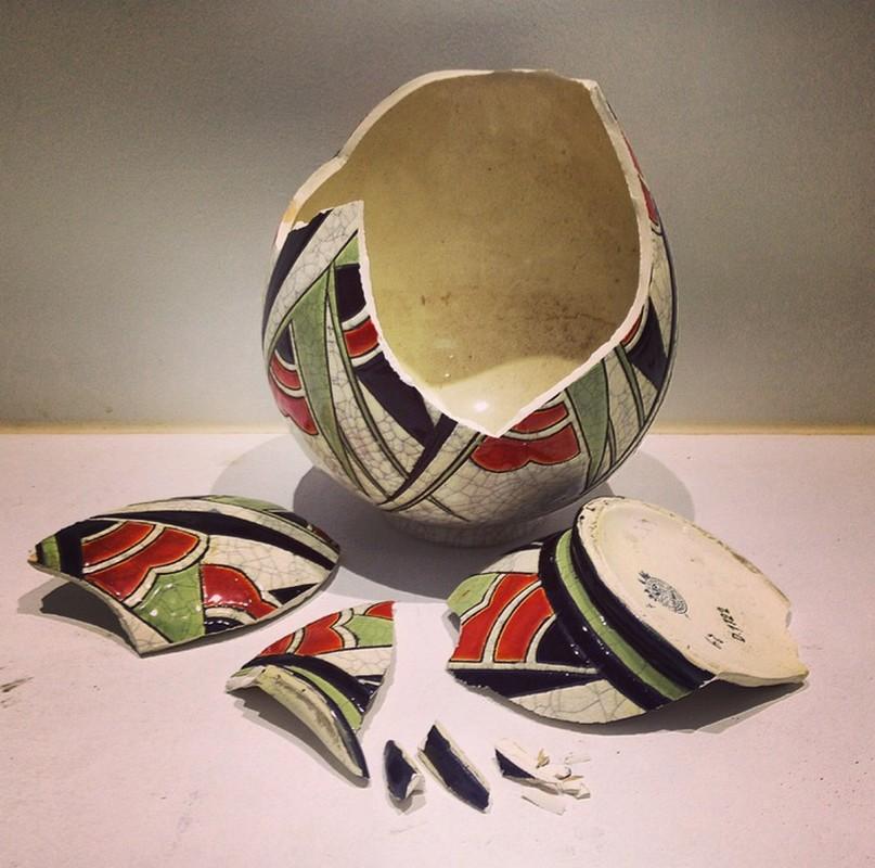 Vase art décoratif années 30 faïence