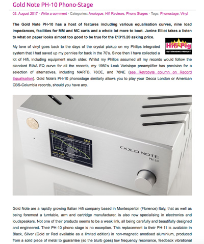 PH-10 | Hifi Pig - Outstanding Product Award