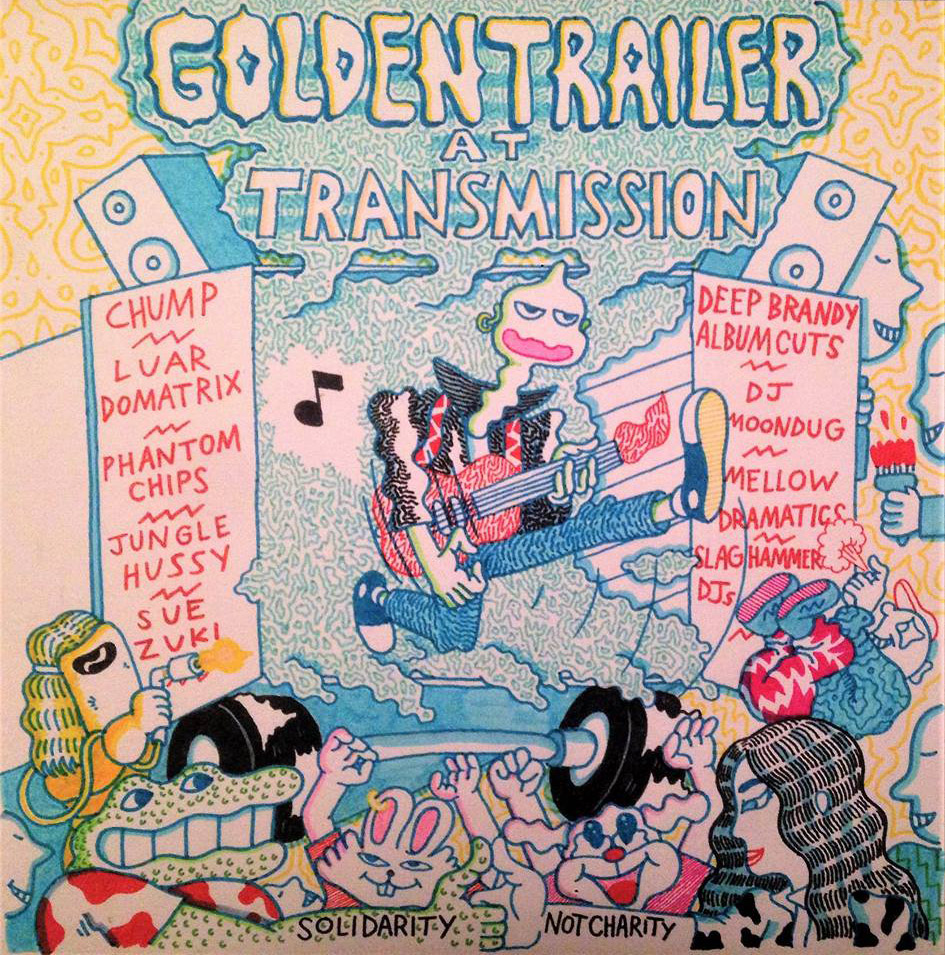 Golden Trailer party fundraiser artwork by  Jake Machenart  28th January 2017