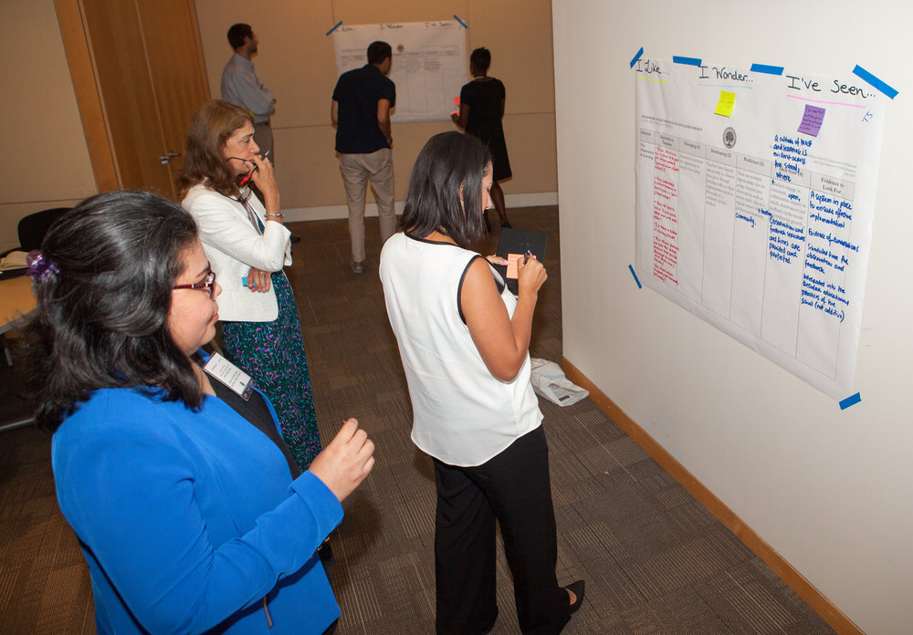 We participated in a gallery walk activity where we offered feedback on each team's vision on the framework indicators. Photo courtesy the Department of Education.