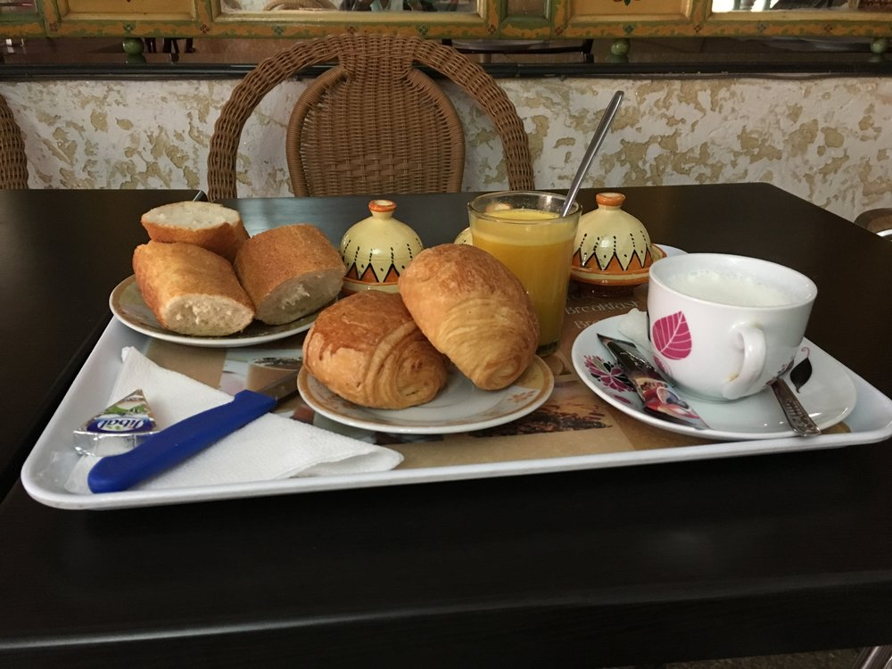 This was our daily breakfast. Two chocolate croissants, fresh squeezed orange juice and an espresso.