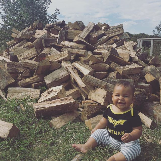Hanging in the woods with this little lady for the next while and couldn't be happier about it. Think she is ready to learn how to stack wood? 💚