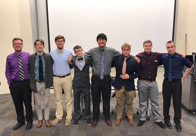 ‪Congrats to the newly elected 2018 eboard for KY Eta!‬ ‪VP Communications: Austin Rizzo‬ ‪VP RLC: Clay Prather‬ ‪VP Member Development: Garrett Ansman‬ ‪VP of Programming: Jared Land‬ ‪President: Adam Clements‬ ‪VP Recruitment: Ethan Craig‬ ‪VP Finance: Morgan Campbell‬ ‪Chaplain: Jerred Wernke‬  Congrats brothers! VDBL!