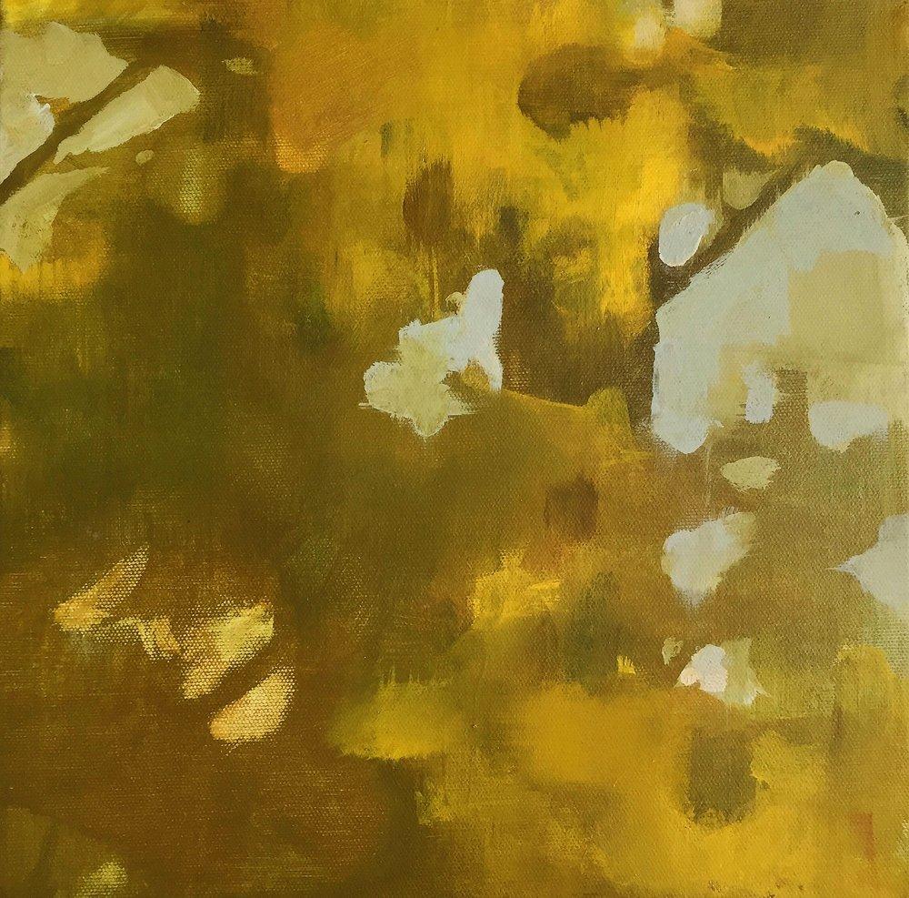 "Chartreuse Shadow, 2015  acrylic on canvas  12""x 12""x 1.5"""