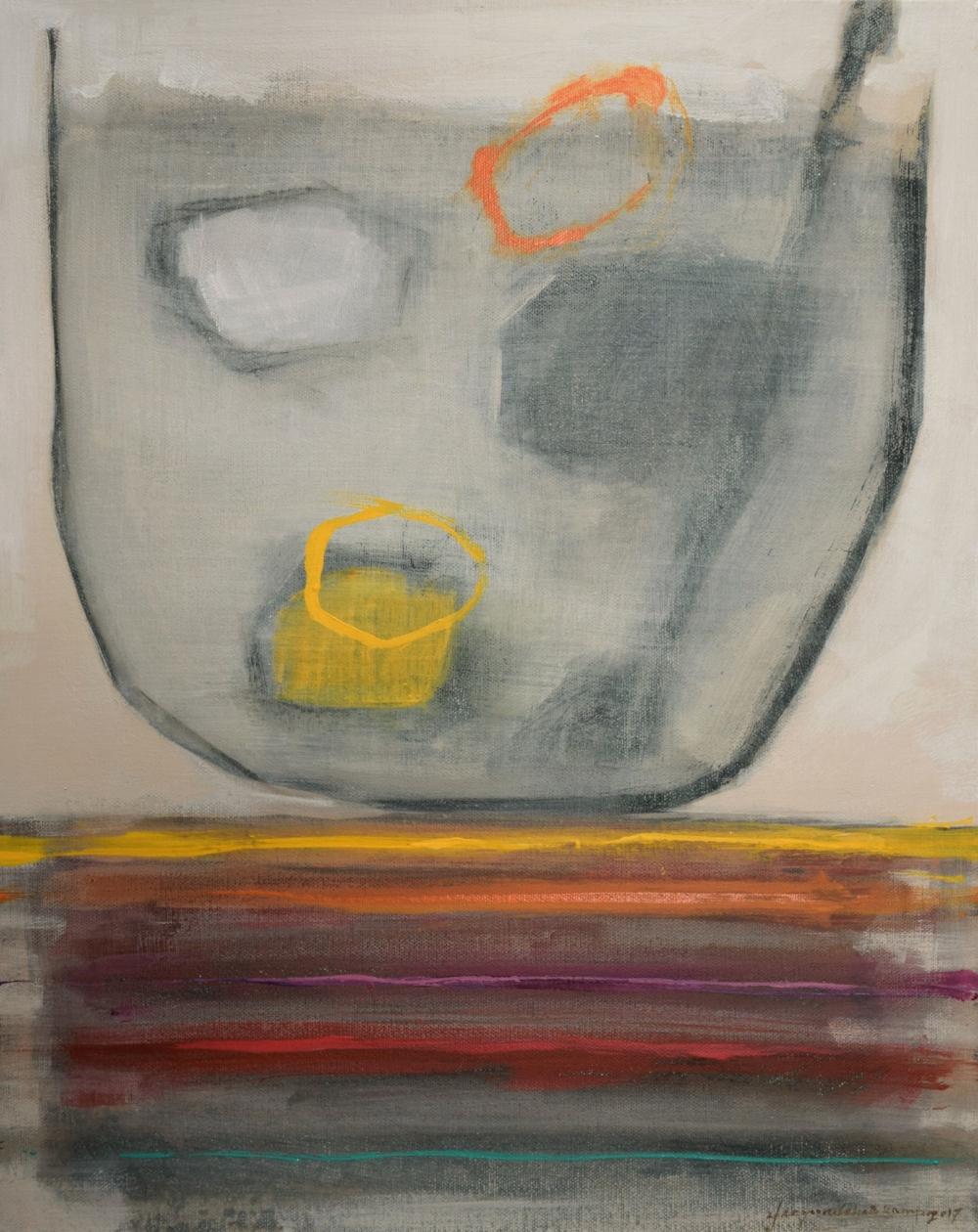 "Stone Soup, 2017  acrylic on canvas  16"" x 14"" x 1.5"""
