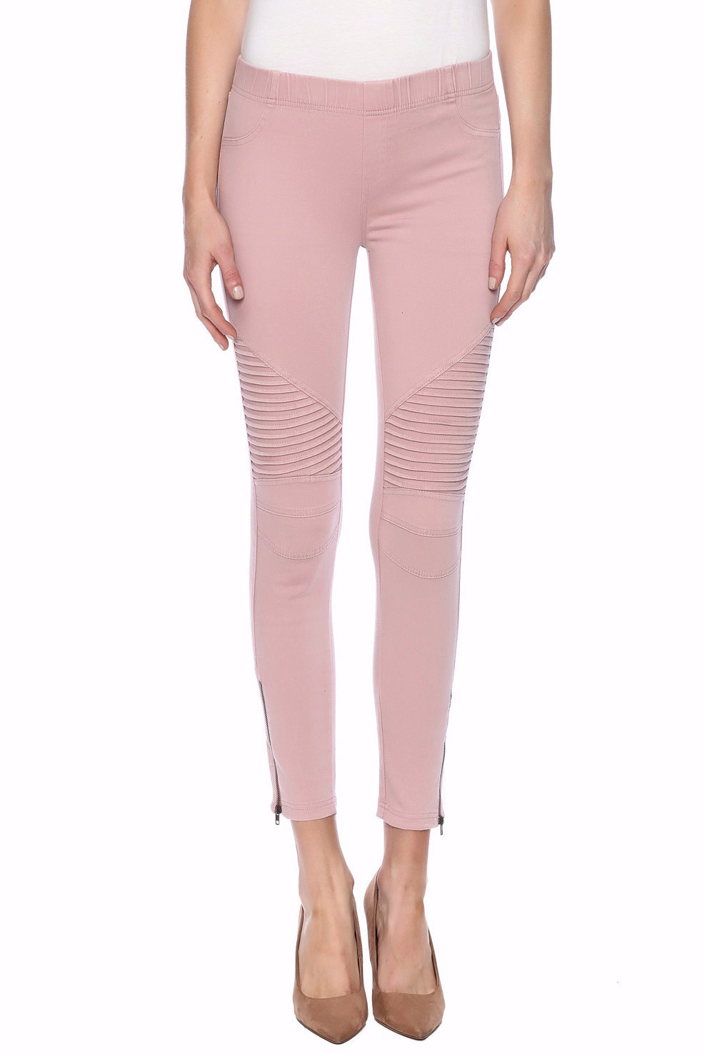 zip moto leggings - dusty pink - s - Pull on denim leggings with faux front pockets, moto details at the knee and an ankle zip. These best-selling moto leggings are extremely comfortable and are the perfect wardrobe staple year round. Wear in warm weather with a tee and flip flops. When the weather gets chilly add on an oversized sweater! Add booties or heels to complete the look.View Leggings