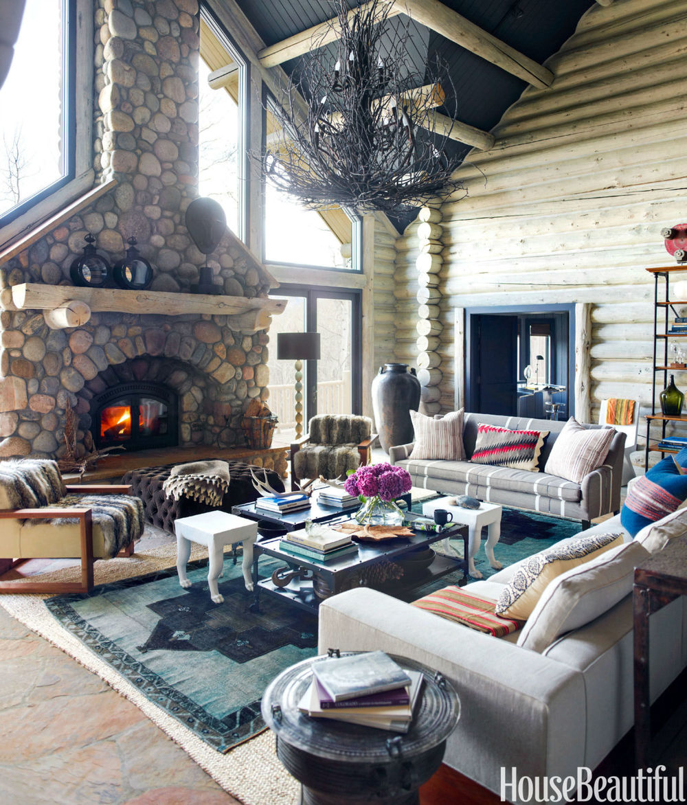 fireplace - log cabin thom filicia