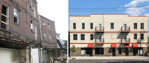 Exterior façade during construction and at completion.