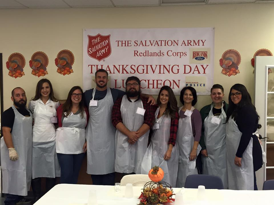 Members of the Hangar 24 brand posed after the luncheon at Salvation Army.
