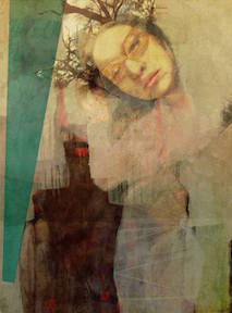 Nature Girl, © Diana Nicholette Jeon (2014) manipulated encaustic photography mounted to wood panel