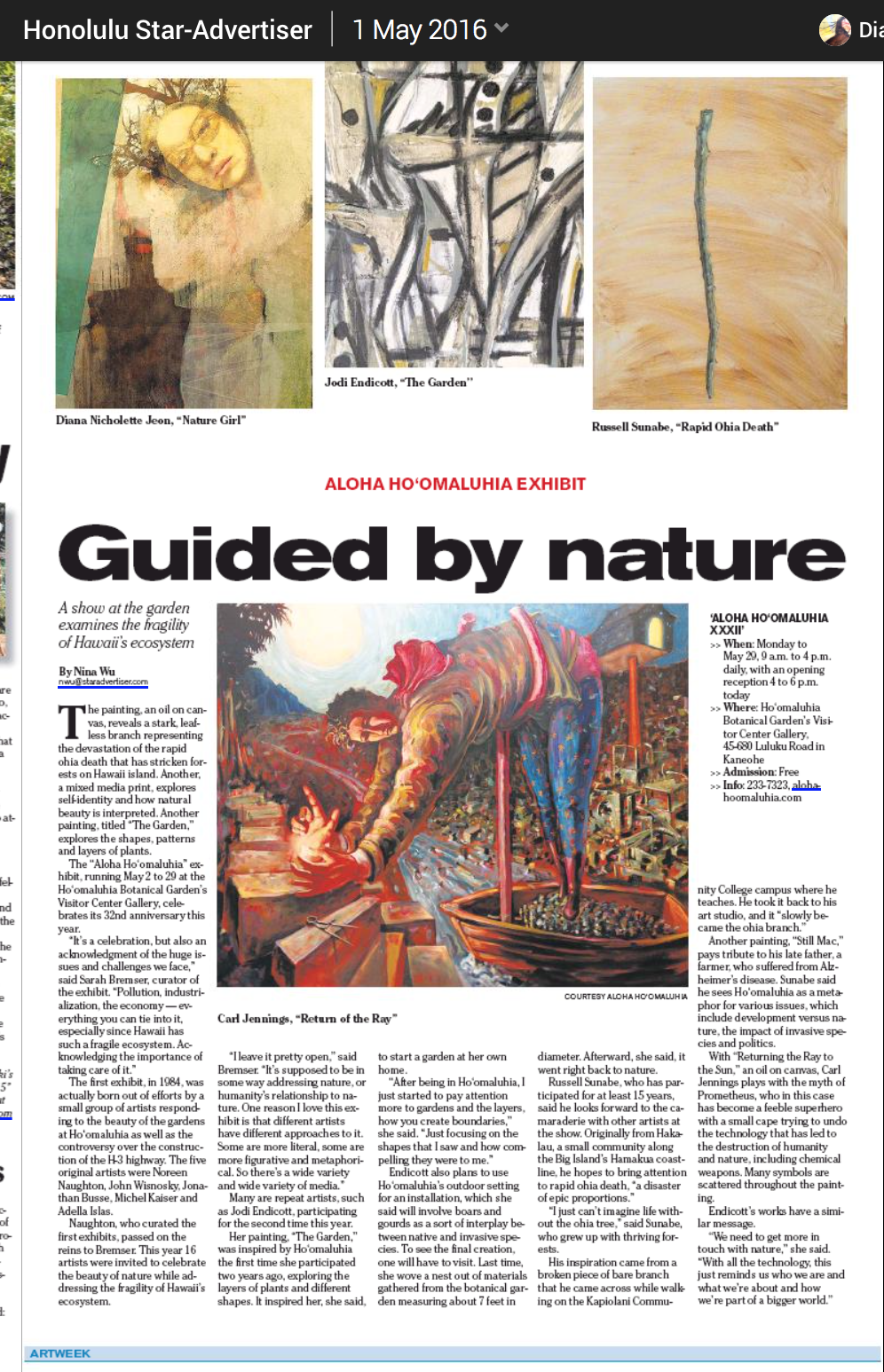 Guided By Nature Article - Nadine Wu, Honolulu Star Advertiser