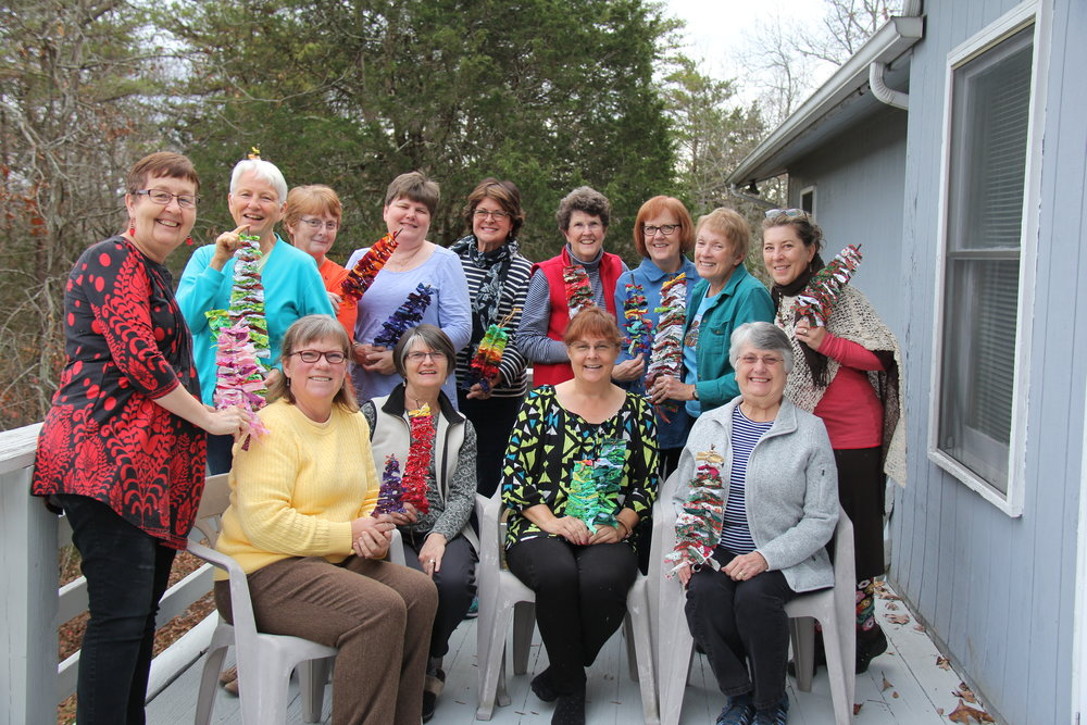 The Quilters at their annual quilting retreat.