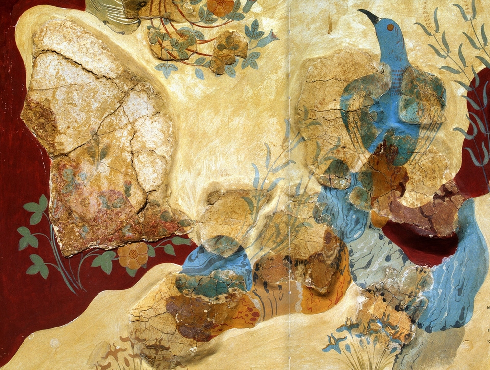 The first undisputed image of a rose - 'The Blue Bird Fresco' painted some 3,500 years ago