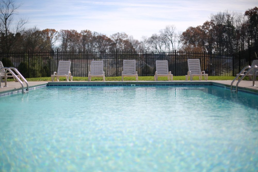 The resort-style pool and hot tub are open year-round.
