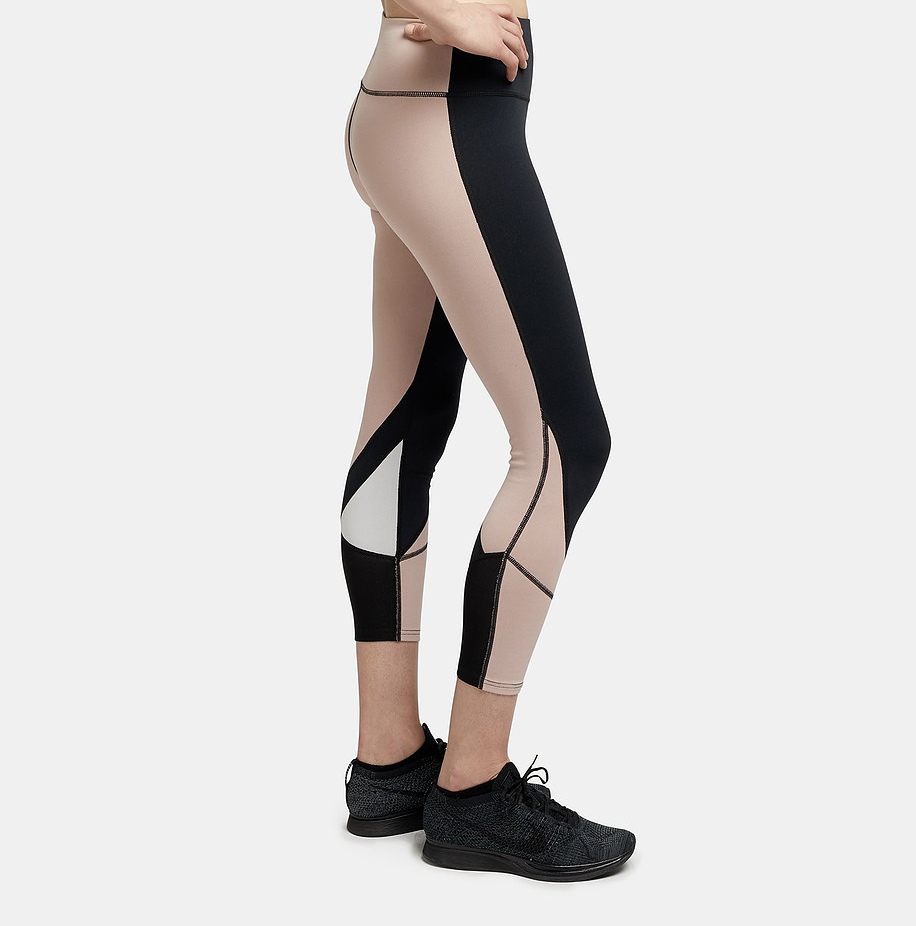 "OUR FAV LEGGINGS UNDER $100      - Sweats & The City    ""These leggings are SO incredibly comfortable + super flattering (the high waist and color block contrast really elongate your legs).""  READ MORE"