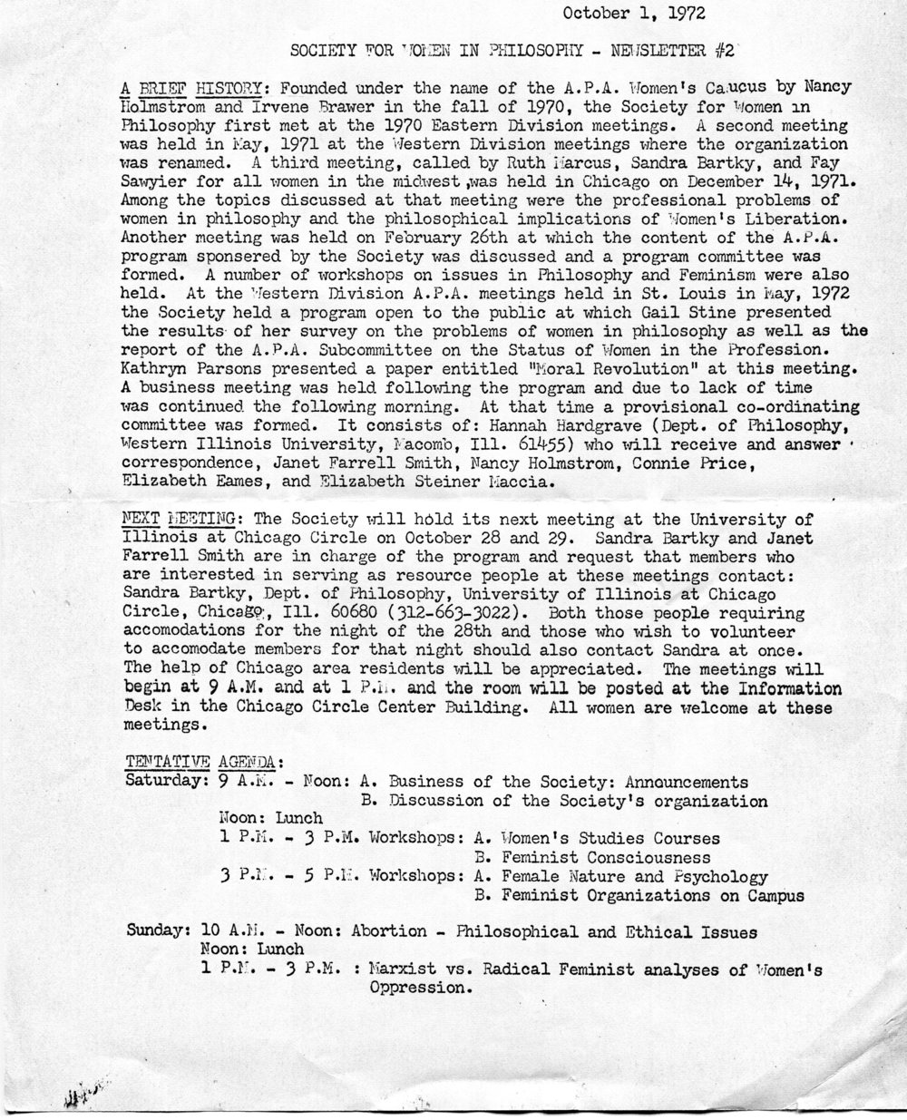 Second newsletter for the Society for Women in Philosophy, October 1st, 1972. Society for Women in Philosophy Collection, Feminist Theory Archive, Brown University