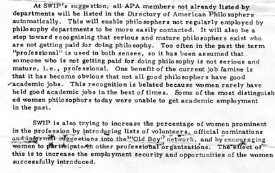 "Excerpt from notice titled ""The Society for Women in Philosophy and Unemployed Women Philosophers'. Written by Janice Moulton, 1975.  Society for Women in Philosophy Collection, Feminist Theory Archive, Brown University"