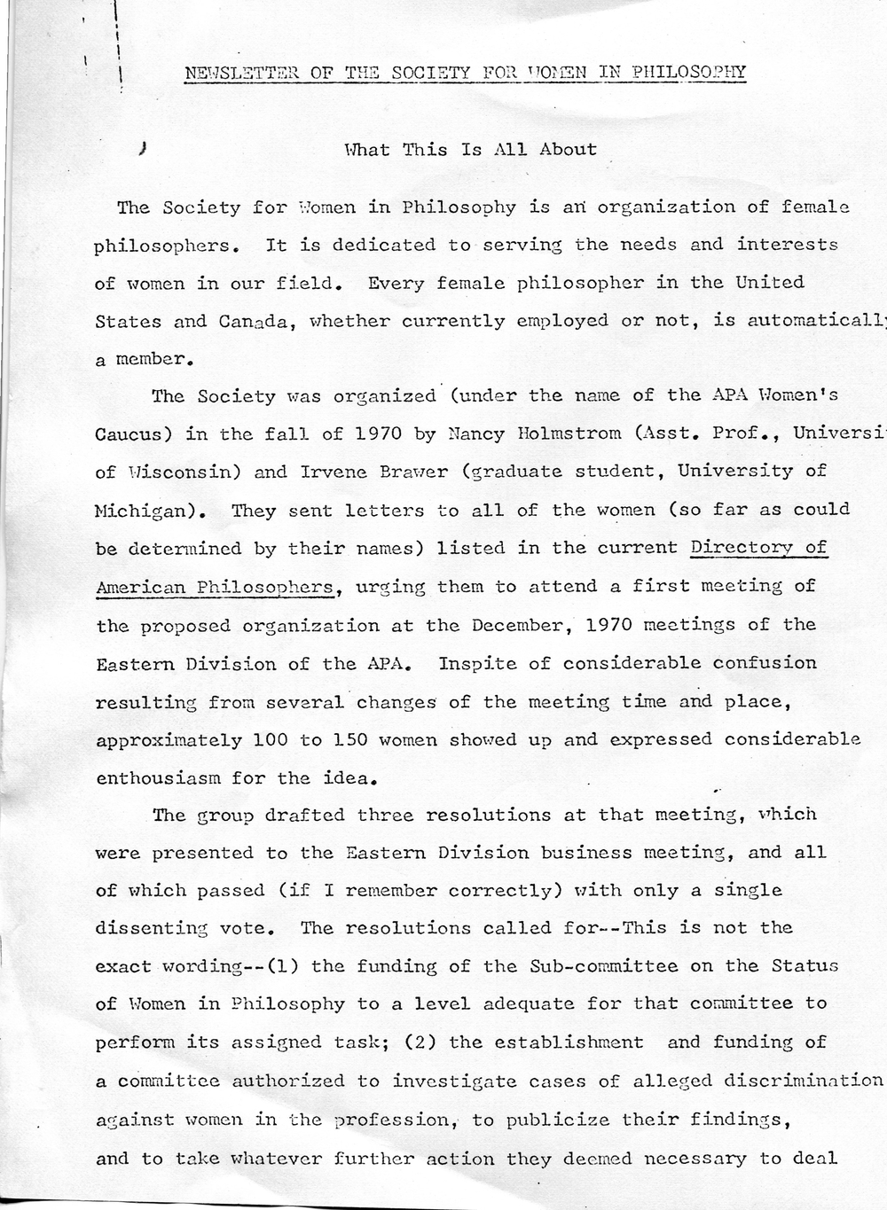 First page of the Society for Women in Philosophy's first newsletter, 1971. Society for Women in Philosophy Collection, Feminist Theory Archive, Brown University