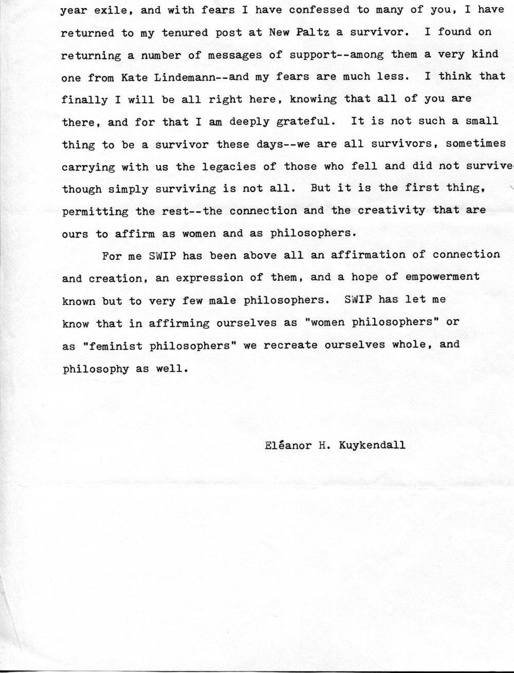 "Excerpt from Eleanor H. Kuykendall's ""What SWIP Meant to Me"" piece, 1982.  Society for Women in Philosophy Collection, Feminist Theory Archive, Brown University"