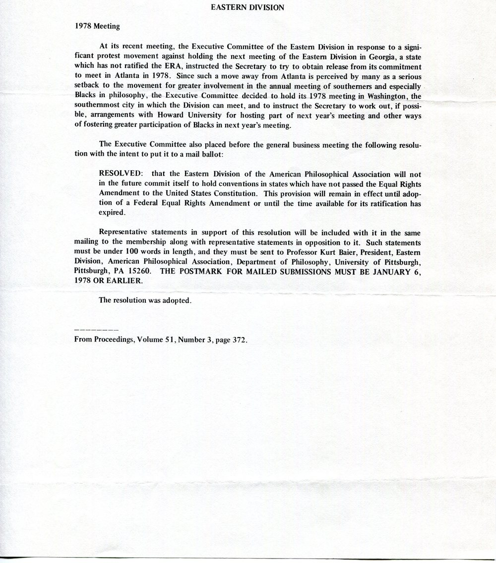 Notice stating Eastern SWIP's refusal to meet in states that had not passed the Equal Rights Amendment, 1978.  Society for Women in Philosophy Collection, Feminist Theory Archive, Brown University
