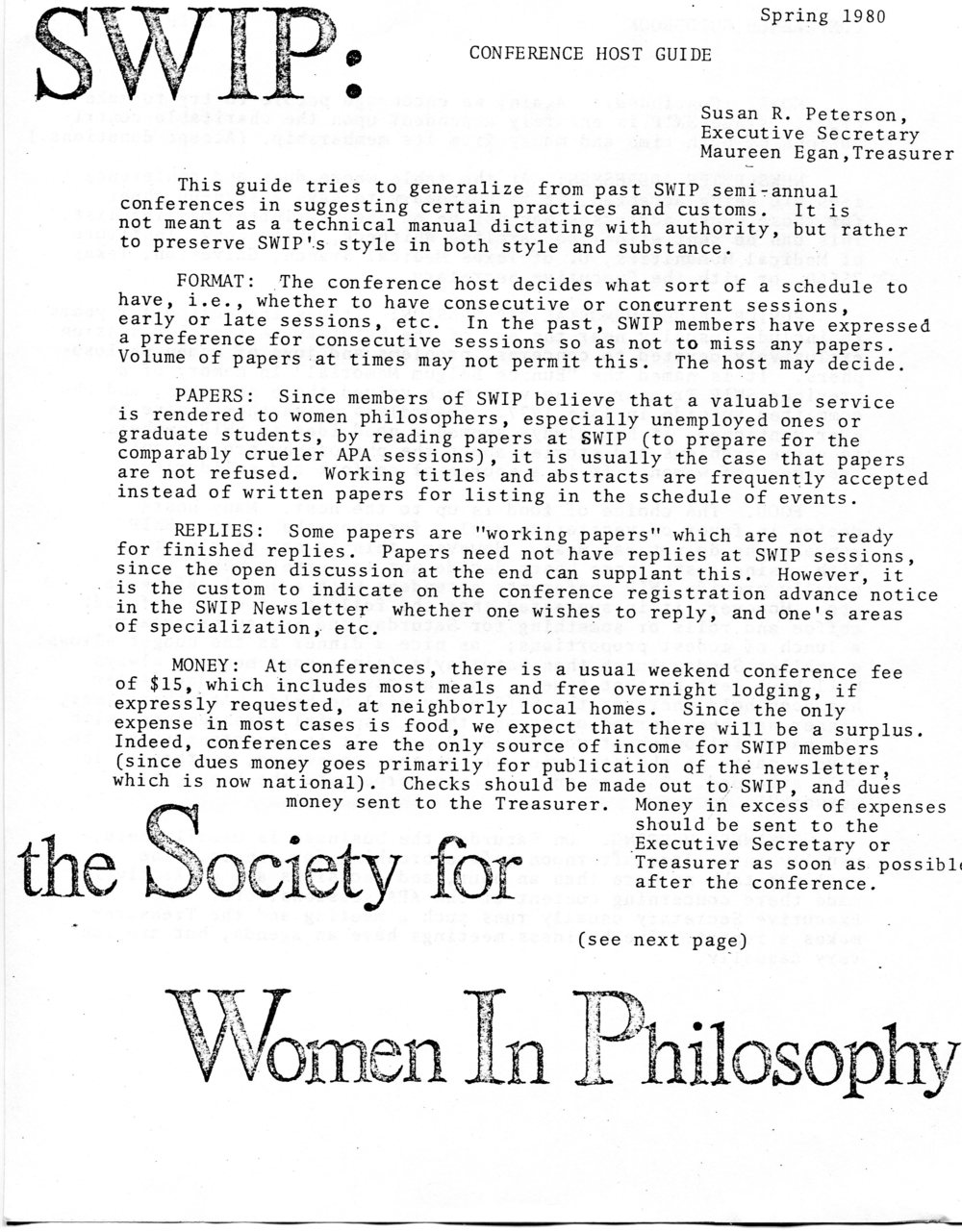 Conference host guide, 1980.  Society for Women in Philosophy Collection, Feminist Theory Archive, Brown University