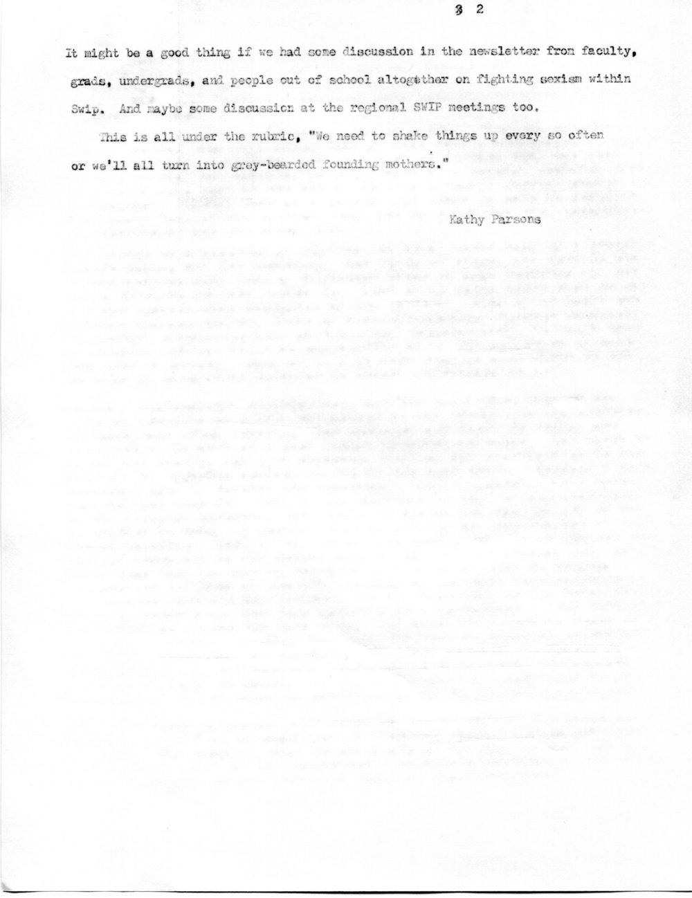 Letter from Kathryn Addelson (formerly Parsons) to the Executive Committee regarding the aims of SWIP, 1977 (2 of 2).  Society for Women in Philosophy Collection, Feminist Theory Archive, Brown University
