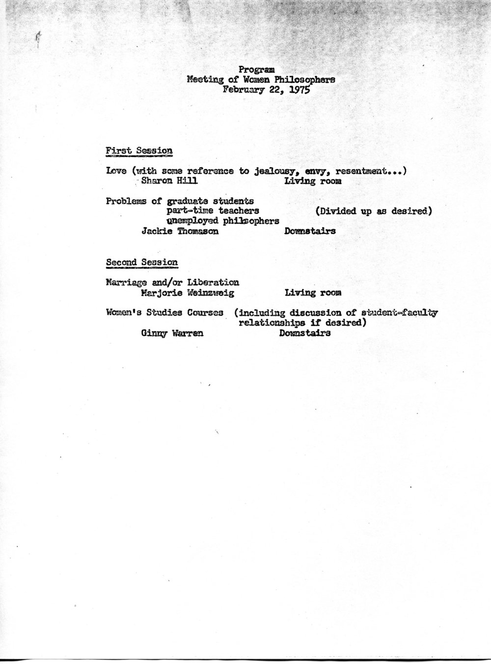 Program for the first Pacific Division meeting held outside an American Philosophical Association conference, 1975.  Society for Women in Philosophy Collection, Feminist Theory Archive, Brown University