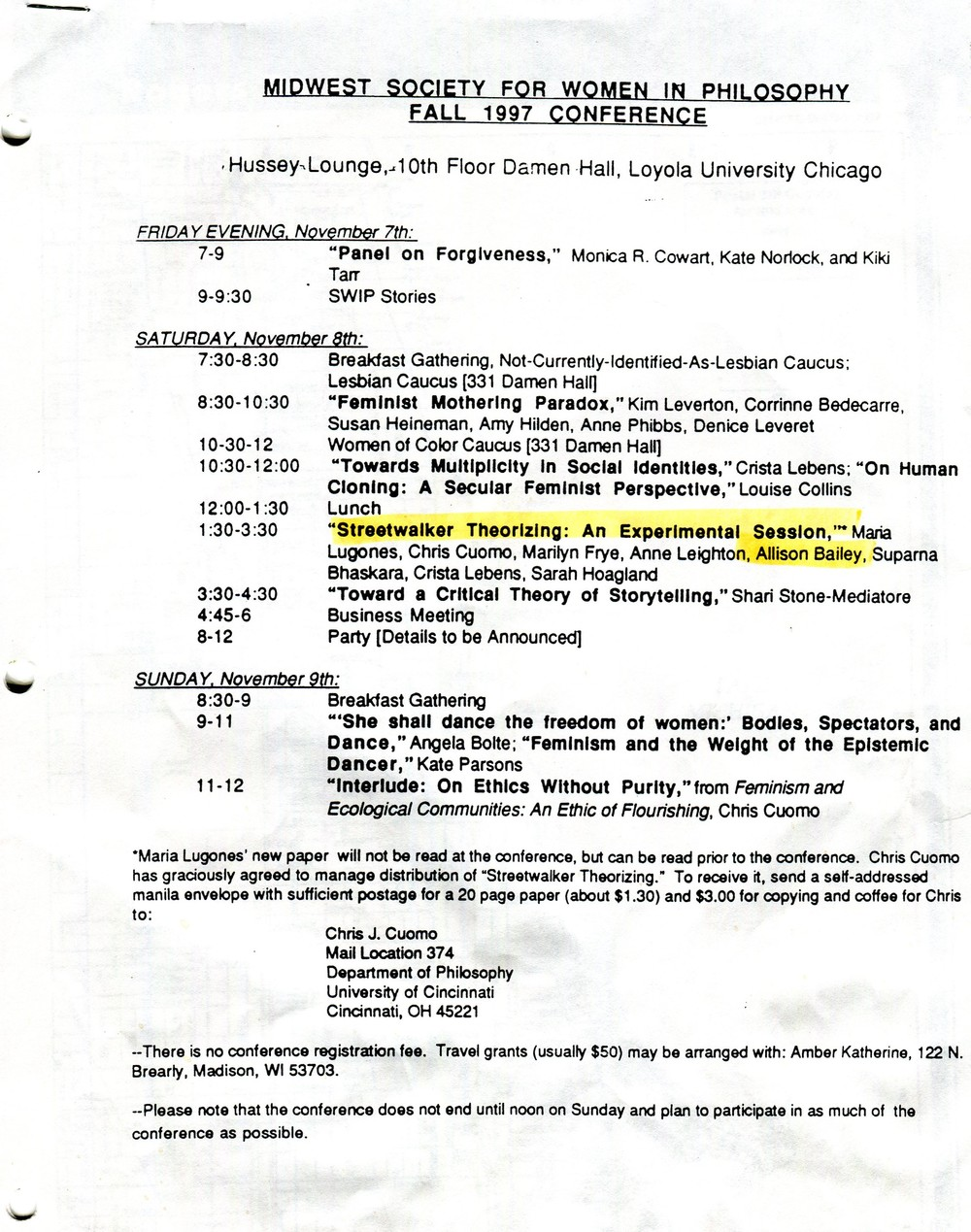 Program for Midwest Society for Women in Philosophy conference, 1997.  Society for Women in Philosophy Collection, Feminist Theory Archive, Brown University