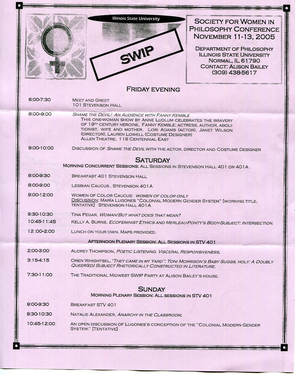 Flyer for Midwest Society of Women in Philosophy conference, 2005.  Society for Women in Philosophy Collection, Feminist Theory Archive, Brown University