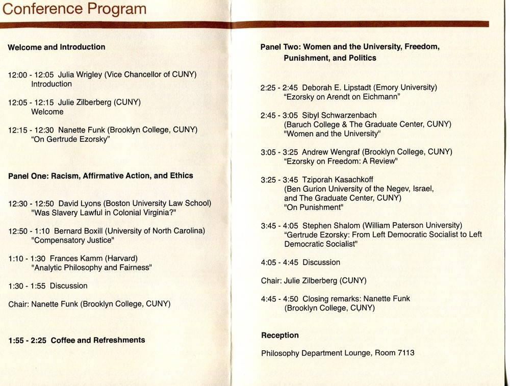 Program for Conference In Honor of Gertrude Ezorsky, November 2011.  Society for Women in Philosophy Collection, Feminist Theory Archive, Brown University