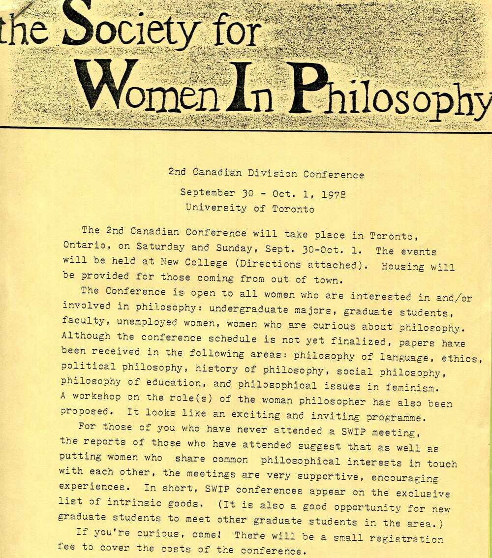 Announcement for the second Canadian Division Conference, September 1978.  Society for Women in Philosophy Collection, Feminist Theory Archive, Brown University