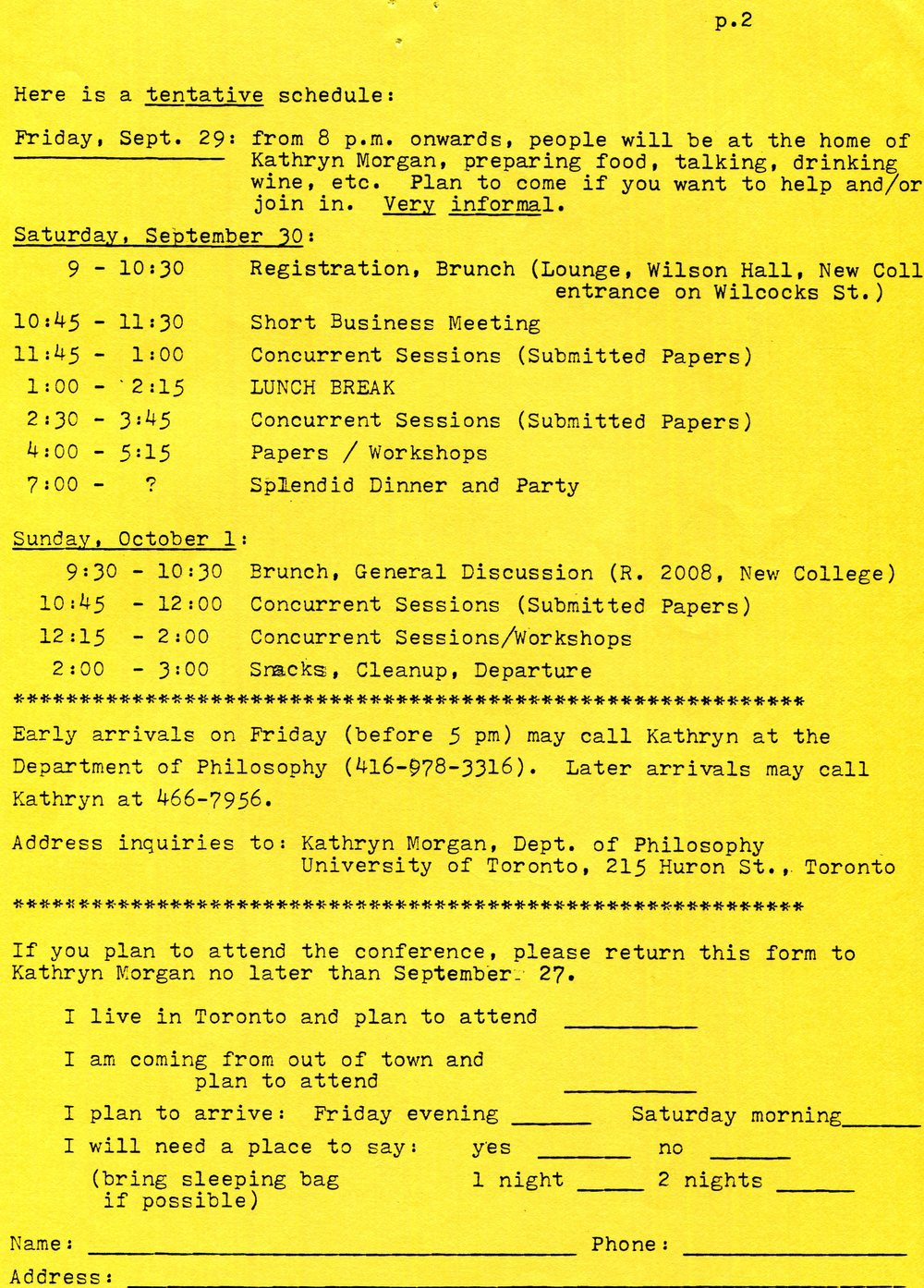 Schedule for the second Canadian Division Conference, September, 1978.  Society for Women in Philosophy Collection, Feminist Theory Archive, Brown University
