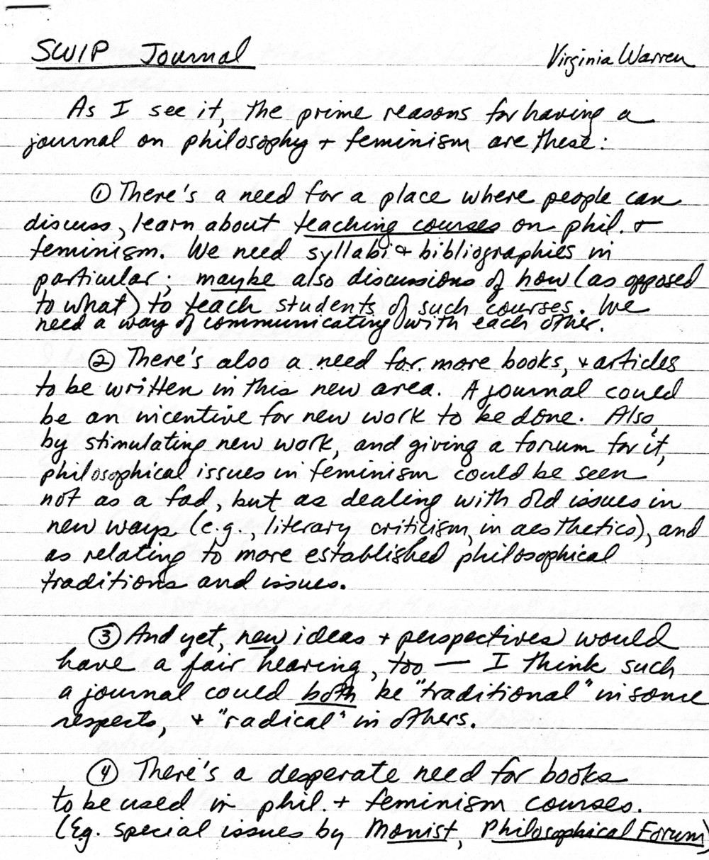 Letter from Virginia Warren writing about a possible SWIP journal, mid 1970's. Society for Women in Philosophy Collection, Feminist Theory Archive, Brown University