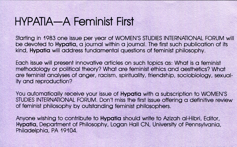Notice about the beginning of Hypatia in a pamphlet for Women's Studies International Forum, 1982. Society for Women in Philosophy Collection, Feminist Theory Archive, Brown University