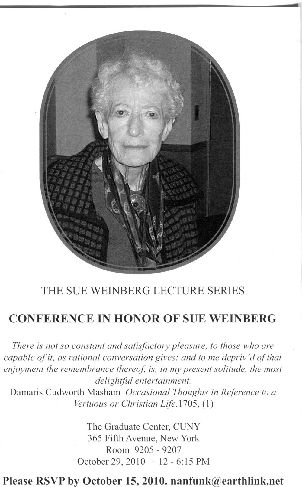 Program cover for Conference in Honor of Sue Weinberg, 2010.  Society for Women in Philosophy Collection, Feminist Theory Archive, Brown University