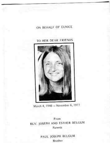 Cover page for Eunice Belgum's memorial, 1977.  Society for Women in Philosophy Collection, Feminist Theory Archive, Brown University