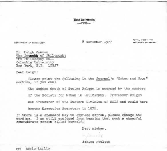 Correspondence from Janice Moulton to Dr. Leigh Cauman regarding Belgum's death.  Society for Women in Philosophy Collection, Feminist Theory Archive, Brown University