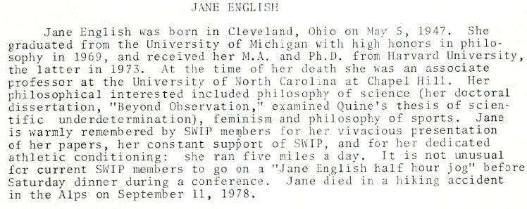Excerpt from 'SWIP Memorial Fund' notice, circa 1982.       Society for Women in Philosophy Collection, Feminist Theory Archive, Brown University