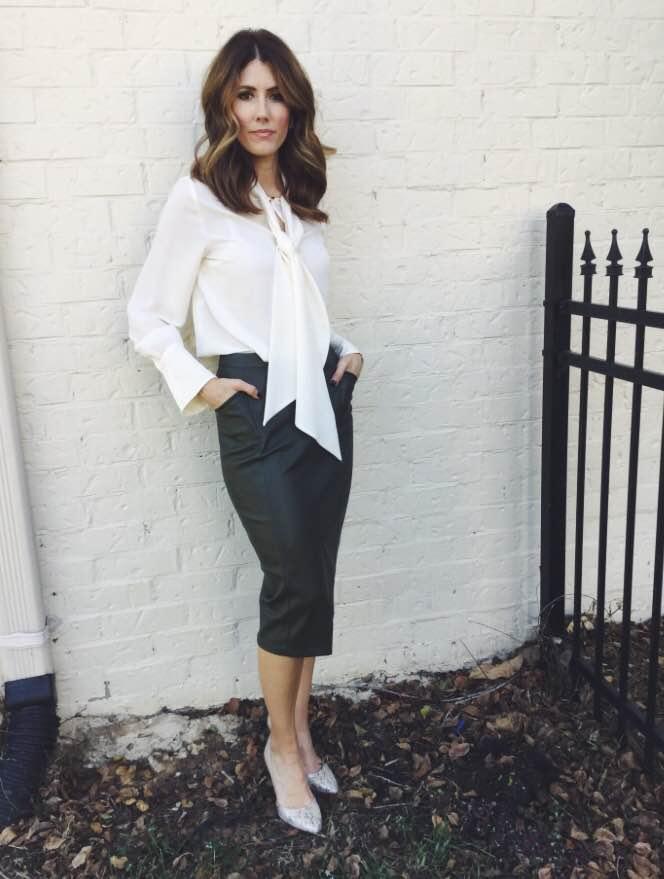 white blouse + leather skirt +snakeskin heel
