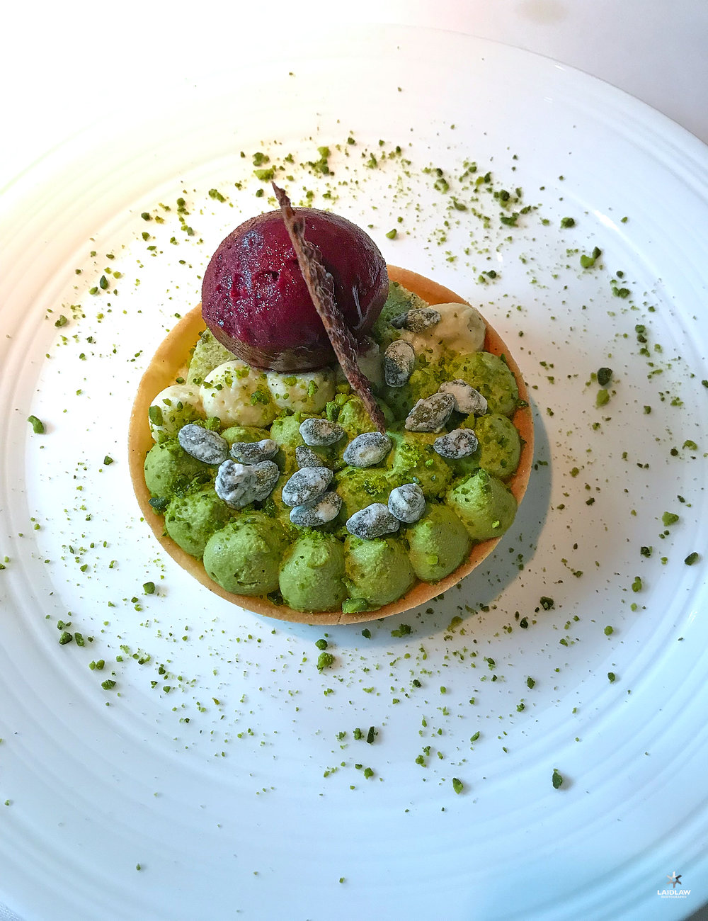 Torta del giorno... Pistachio cream, nuts and black cherry ice-cream