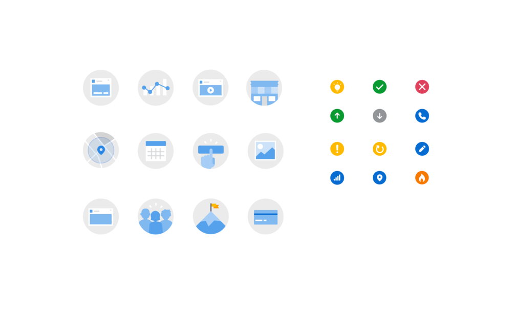 "The final set of icons, the larger type being generalized concepts of things like ""clicks"", ""payment"", ""milestone"", or ""post"", and the smaller type consisting of more nuanced concepts like ""edit"", ""hot"", ""error"", and ""approved"". These could be combined to make concepts like ""Ad Approved"" or ""Edit Video"", or used individually."