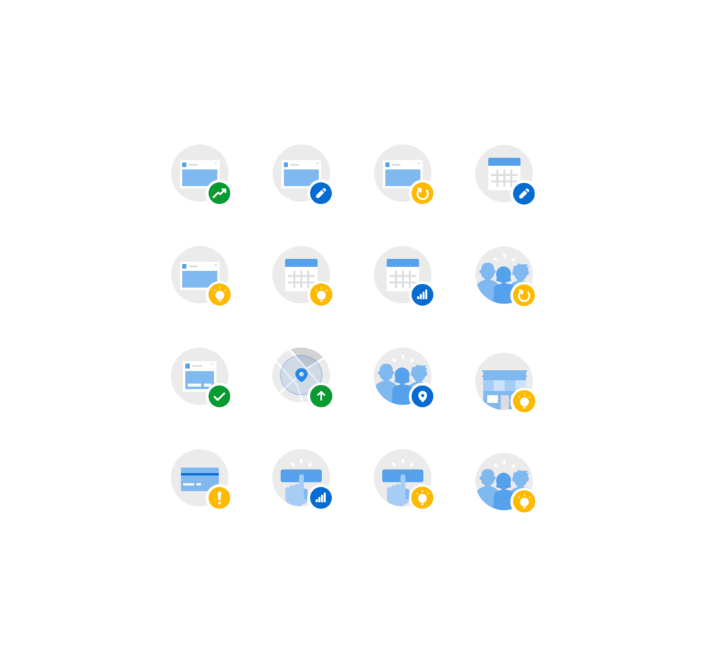 A set showing the combined forms of some icons.