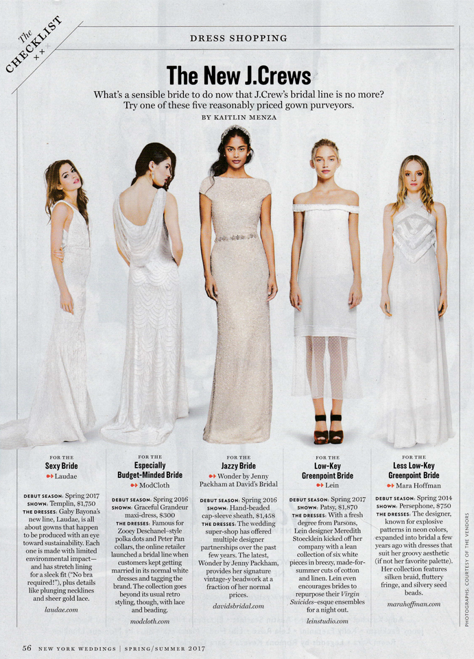New York Magazine Patsy Dress Weddings Issue