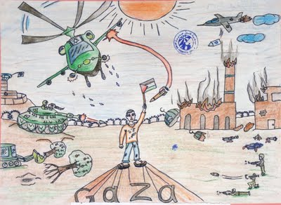 From an exhibit of art by Palestinian children in the Gaza Strip.  Courtesy: The Middle East Children's Alliance (MECA).