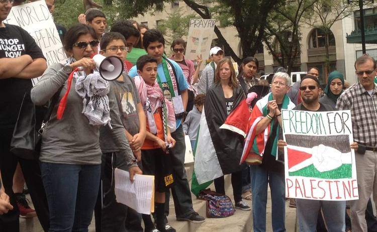 Speaking at a rally against the bombing of Gaza, In Indianapolis, 2014.
