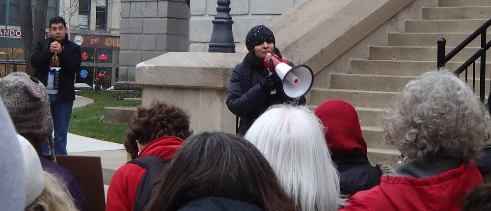 Speaking at a Refugees are Welcome Rally, Lafayette, Indiana, 2015.