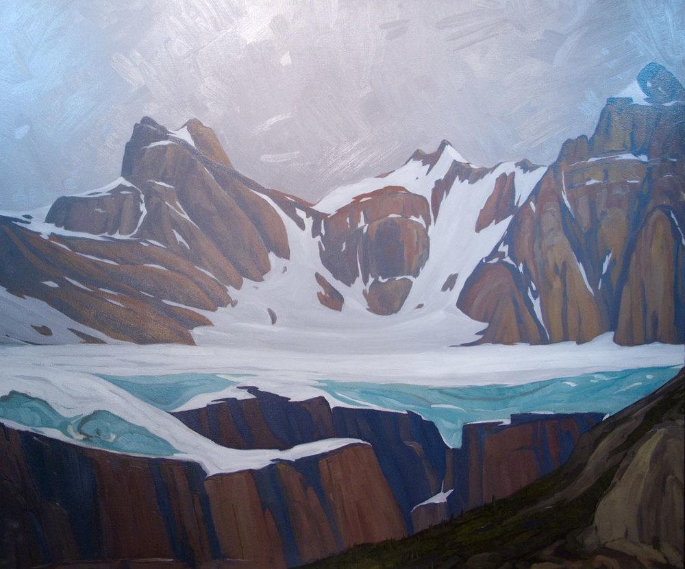 Glacier Above Waterfowl Lake - 32x38 inch