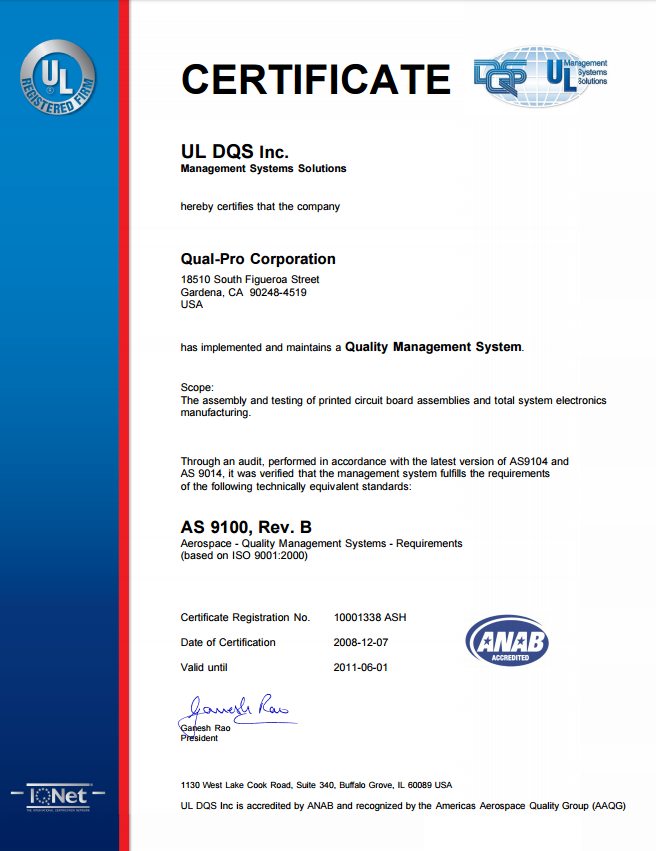 Qual Pro Achieves Itar Certification And As9100