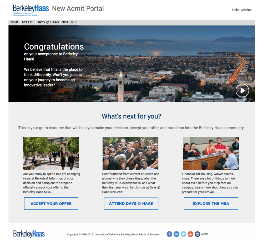 Redesign of the New Admit Portal for Berkeley-Haas